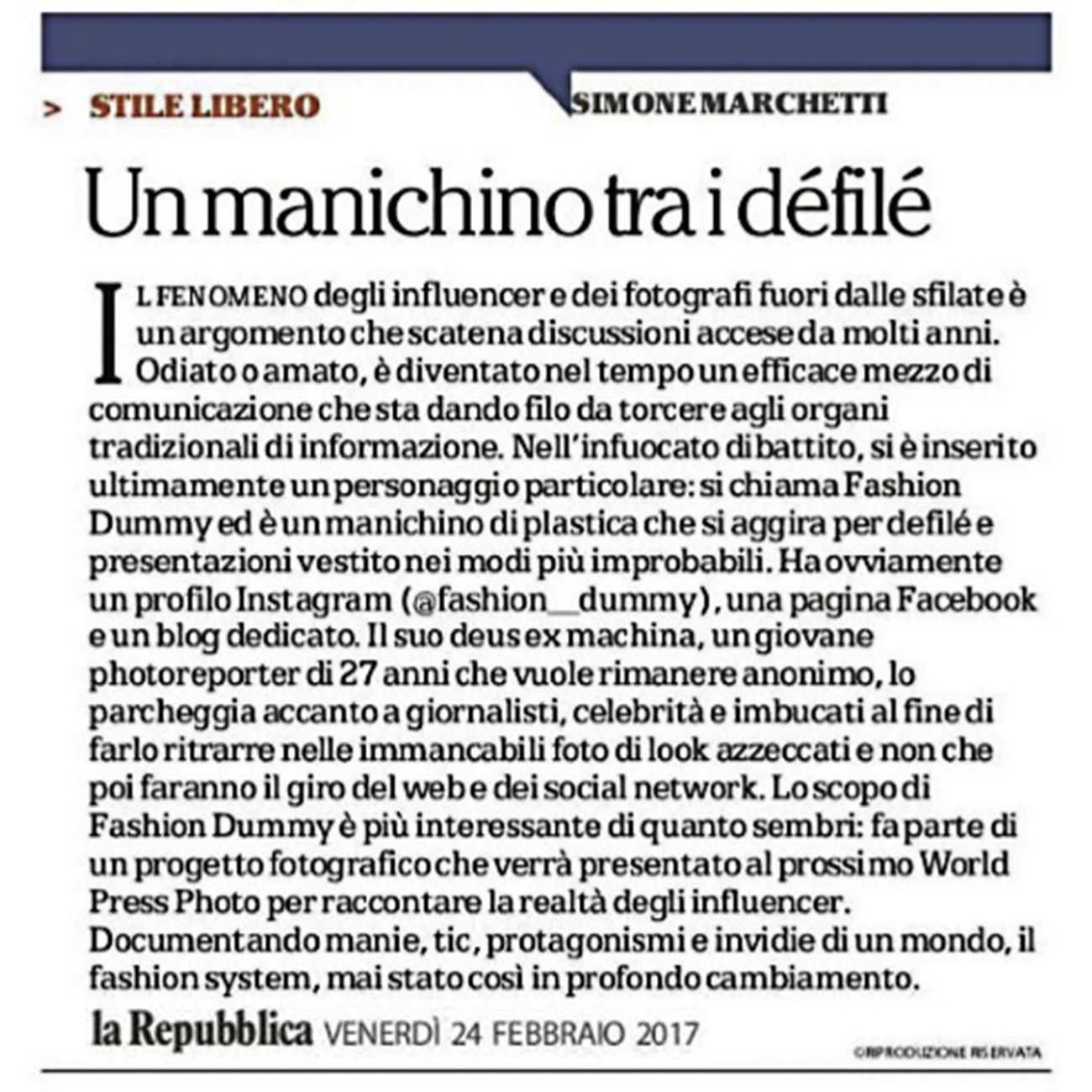 fashion dummy la repubblica